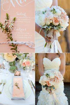 Light pink and white wedding color palette for the classy bride