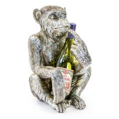 If you are looking for a fun centre piece for your table look at this unique silver monkey sitting holding your wine bottle! Wine Bottle Holders, Centre Pieces, Antique Silver, Home Accessories, Monkey, Lion Sculpture, Statue, Antiques, Fun
