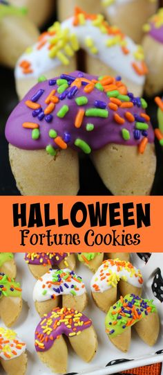 Halloween Fortune Cookies - ideal for Halloween parties, fall festivals of just fun treats for the kids at home! Theme Halloween, Easy Halloween Food, Halloween Celebration, Halloween Cookies, Halloween Parties, Halloween Treats, Haunted Halloween, Fall Recipes, Holiday Recipes