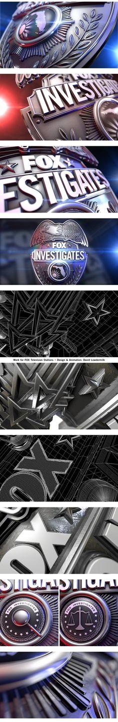 Motion graphics style frame Fox Investigates Badge on Behance