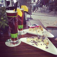 Ice tea bij Fred & Douwe