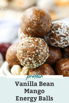 These Mango Vanilla Bean Protein Energy Balls are paleo and vegan-friendly. Made with dates cashews and collagen they make the perfect healthy no bake workout snack! Theyre packed with protein and only require 5 ingredients! Dairy Free Recipes Easy, Paleo Recipes, Whole Food Recipes, Dinner Recipes, Kitchen Recipes, Baking Recipes, Protein In Beans, Protein Snacks, Healthy Snacks