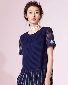 #AdoreWe #VIPme T-Shirts❤️Designer YUNSIMUXIANG Deep Blue Embroidery Fringed Gauze Round Neck T Shirt - AdoreWe.com