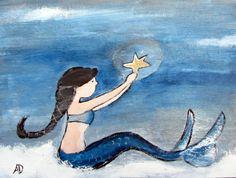Mermaid Original Art, Storybook Artwork, Painting on Canvas, Artwork for Kids, Wall Art, Nursery Art, Kids Room, Original Acrylic Painting. $50.00, via Etsy.