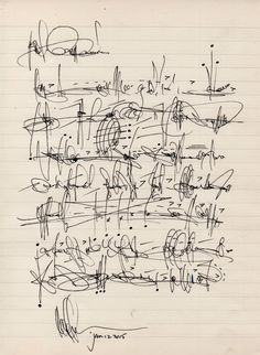 """Cecil Touchon - """"Asemic letter to my cousin Ouida Touchon after her visit to Santa Fe."""""""