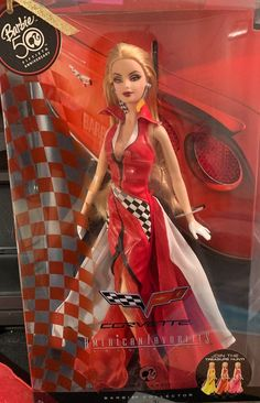 This is a brand new Barbie anniversary edition she is a Corvette Americans favorites collected bowl edition Barbie and she comes in red