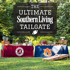 Game Day Décor - Tips for Hosting a Great Tailgate - Southern Living- want the table cover! Sec Football, Football Tailgate, Auburn Football, Tailgate Food, Football Food, Alabama Football, Football Season, Tailgate Games, Clemson