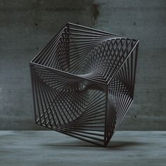 Tesseract - Sacred Geometry - This is a sense manipulating geometric body. The straight lines crate a movement and with all the intersection points some of them seem as if they aren't straight. Sculpture Metal, Geometric Sculpture, Geometric Form, Geometry Art, Sacred Geometry, 3d Artwork, Wow Art, 3d Prints, Land Art