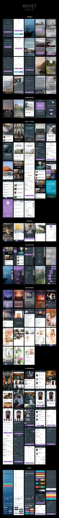 It is really interesting looking at UI kits, seeing how the same content can be laid out multiple times. Ghost Ship Mobile UI Kit Published by Maan Ali Interface Design, Ios App Design, Android Design, Mobile Web Design, Web Ui Design, User Interface, Flat Design, Design Design, App Design Inspiration