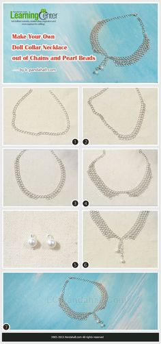 Free Tutorial on Make Your Own Doll Collar Necklace out of Chains and Pearl Beads