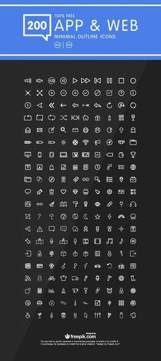 200 Minimal Outline Icons for Web & Mobile App Design