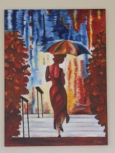 "Ïn de regen"". Gemaakt in Acryl. Afm. 60 x 80 cm"