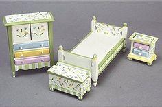 Town Square Miniatures Springtime Bedroom Dollhouse Miniature Set, Wood