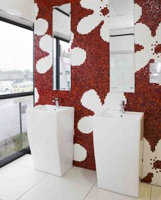 Bring an individual touch to your with a design made from red and white tiles Color Pop, Colour, Mosaic Tiles, House Colors, Red And White, Touch, Bathroom, Wallpaper, Inspiration