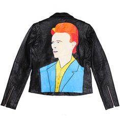 David Bowie Jacket ($1,200) ❤ liked on Polyvore featuring outerwear, jackets, tops, coats, leather jacket, oversized leather jacket, real leather jackets, genuine leather jackets, oversized jackets and leather jackets