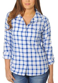 Kentucky Wildcats Womens Blue Boyfriend Fit Plaid Dress Shirt