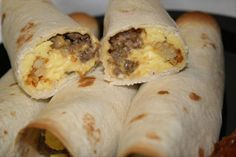 Breakfast Burritos.  Can be made, frozen and heated up as needed.  Need to try this for the hubs to take to work!