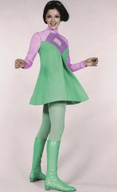 space age fashion mod mini dress green purple go go boots model vintage fashion style Angela Cartwright as Penny Robinson on Lost in Space. 60s And 70s Fashion, Retro Fashion, Vintage Fashion, Womens Fashion, Moda Vintage, Vintage Mode, Vintage Outfits, Vintage Dresses, Space Fashion