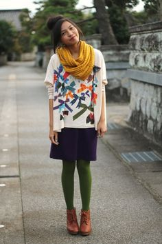 olive tight multicolor pretty mix | How to Wear Tights