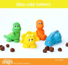 3d 4 Dinosaur Fondant Toppers