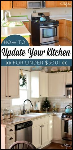 Kitchen makeover on a budget! Transform your kitchen with Giani Granite Countertop Paint. DIY. Kitchen before and after. www.gianigranite.com