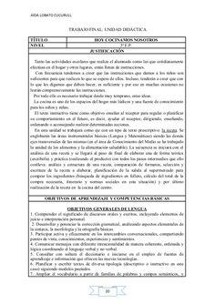 AÍDA LOBATO CUCURULL  TRABAJO FINAL: UNIDAD DIDÁCTICA TÍTULO NIVEL  HOY COCINAMOS NOSOTROS 3º E.P. JUSTIFICACIÓN  Tanto la...