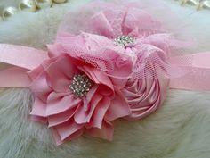 Lt Pink Headband/Flower Girl Headband/Baby Headband/Infant Headband/Newborn Headband/Toddler Headband/Girls Headband/Girls Headband by OohLaLaDivasandDudes on Etsy
