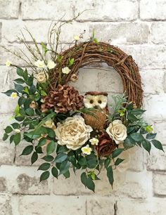 Burlap and Twig Owl Wreath Ivory and Brown Neutral Wreath Front Door Wreath Grapevine Wreath Silk Floral Wreath Outdoor Wreath Door Decor Door Decoration Home Decor Roses Hydrangeas Artificial Greenery by Adorabella Wreaths! Owl Wreaths, Holiday Wreaths, Christmas Decorations, Autumn Wreaths For Front Door, Fresh Christmas Wreaths, Spring Wreaths For Front Door Diy, Summer Door Decorations, Silk Flower Wreaths, Tulip Wreath