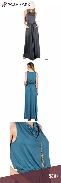 Boat Neck Long Maxi Dress w/Pockets Grey Beautiful boat neck maxi dress with elastic waist and side pockets. Made of soft jersey material. This listing is for the grey dress, the blue photos are to show the back and detail Love In Dresses Maxi