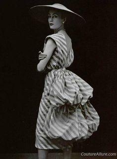 In Black + White Week: Balenciaga dress, 1951. Photo by Phillipe Pottier via L'Officiel Paris