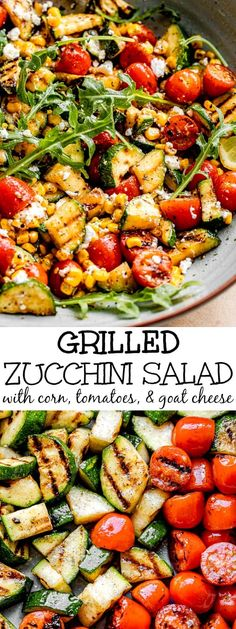 This Grilled Zucchini Salad with Corn and Tomatoes is tossed in a lemon dressing for the ultimate summer salad recipe! It's fresh, healthy and easy to make. #grilledzucchini #grilledvegetables #zucchinirecipes Summer Grilling Recipes, Summer Salad Recipes, Veggie Recipes, Easy Dinner Recipes, Beef Recipes, Cooking Recipes, Healthy Recipes, Vegetarian Salad Recipes, Tomato Salad Recipes