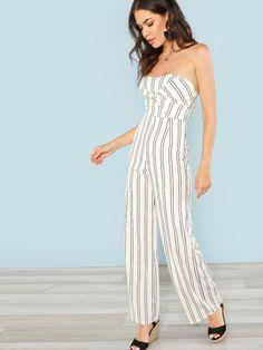 fba855d7427 Striped Strapless Jumpsuit -SheIn(Sheinside) Strapless Jumpsuit
