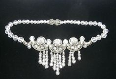 Art Deco  Crystal & Silver Filigree Fringe by Topcatvintage, $450.00