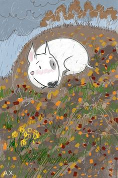 Bull Terrier Ferd in autumn. Illustration by the Russian artist D. Khmelevtseva
