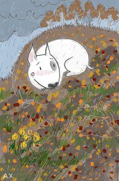 Bull Terrier Ferd in autumn. Illustration by the Russian artist D. Khmelevtseva
