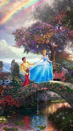 Disney Cinderella by Thomas Kinkade Disney Fine Art, Disney Princess Art, Disney Princess Paintings, Disney Images, Disney Pictures, Disney And Dreamworks, Disney Pixar, Cinderella And Prince Charming, Cinderella Prince