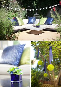 bachelorette party blue, peacock parti, lime green party, backyard, parti idea, green flowers, color themes, blues, baby showers