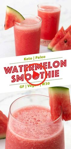 This vegan watermelon recipe is light refreshing (with no sugar added) and easy to make. Watermelon smoothie is full of healthy goodies and can fit almost any diet (Keto Paleo GF low carb vegan). Perfect to cool down your thirst in the summer! Low Carb Smoothies, Apple Smoothies, Vegan Smoothies, Easy Smoothies, Smoothie Diet, Low Calorie Smoothie Recipes, Vegetable Smoothies, Healthy Watermelon Smoothie, Fruit Smoothie Recipes