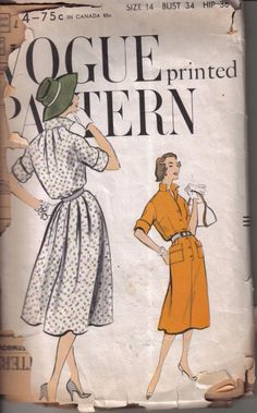 Vintage Vogue Printed Misses Mid Century Classic Day Dress Pattern  9434 Size 14…