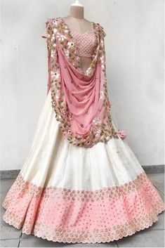 Off White And Pink Colour Taffeta Silk Fabric Party Wear Lehenga Choli Comes with matching blouse. This Lehenga Choli Is crafted with Embroidery This Lehenga Choli Comes with Unstitched Blouse Which C. Party Wear Indian Dresses, Indian Fashion Dresses, Indian Bridal Outfits, Indian Gowns Dresses, Party Wear Lehenga, Dress Indian Style, Indian Designer Outfits, Indian Wear, Wedding Dresses