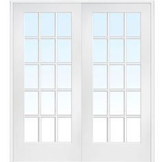 Beau MMI Door 73.5 In. X 81.75 In. Classic Clear Glass 15 Lite Interior French  Double Door