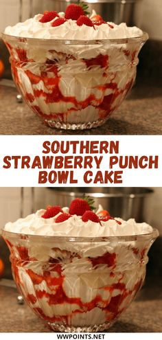 Southern Strawberry Punch Bowl Cake – Page 2 – Yummy Recipes Köstliche Desserts, Summer Desserts, Christmas Desserts, Cheesecake Desserts, Cake Recipes, Dessert Recipes, Yummy Recipes, Recipies, Skinny Recipes
