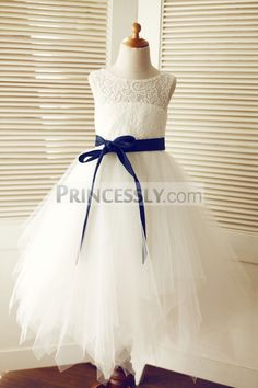 90 best tulle flower girl dresses images on pinterest in 2018 keyhole ivory lace tulle wedding flower girl dress navy blue sash sku k1003317 buy mightylinksfo