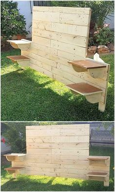 Here's another form of Bed Headboard. This one is much simpler to work; with boards for side tables, Diy Wood Pallet, Diy Pallet Projects, Wood Pallets, Outdoor Pallet, Pallet Ideas, Wood Headboard, Headboards For Beds, Unique Home Decor, Home Decor Items