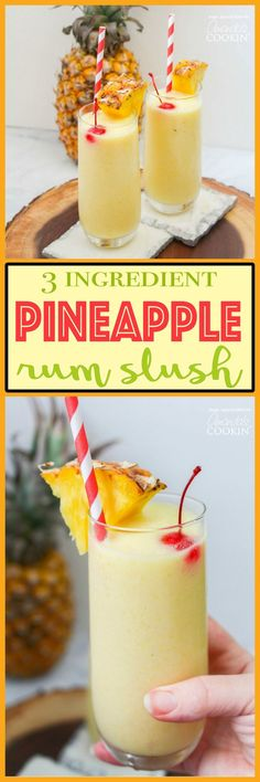 Pineapple Rum Slush: a refreshing spiked pineapple slush! This pineapple rum slush is the perfect quick cocktail for a crowd, or for a nice refreshing drink after winding down from a hot summer day. Fancy Drinks, Cocktail Drinks, Cocktail Recipes, Alcoholic Drinks, Beach Cocktails, Bourbon Drinks, Refreshing Drinks, Summer Drinks, Frozen Rum Drinks
