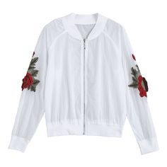 Floral Patched Zip Up Jacket (52 BRL) ❤ liked on Polyvore featuring outerwear, jackets, giacche, tops, white jacket, flower print jacket, white floral jacket, patch jacket and floral jacket