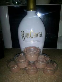 Yum! .... Rum Chata Pudding Shots ~ oh My....here's the recipe:  1 4 oz pkg instant chocolate jello pudding 1 cup milk 1 cup Rum Chata 1 8 oz container cool whip  Mix milk, pudding and Rum Chata till thickened, gently mix in cool whip with spatula, pour (kinda thick but not set yet) into plastic jello shot (we call them tarter sauce cups for fish fry here in Wi) cups. Put them in a cake pan in the freezer for a few hours then enjoy! Will not freeze hard due to alcohol in them! Delish!
