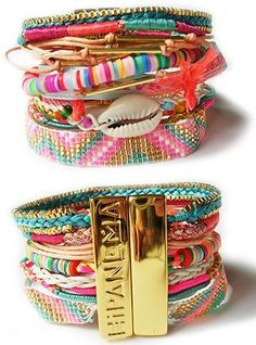 hipanema bracelet stack - that arm candy stacks are so colorful they're perfect for summer or as festival accessories Diy Jewelry, Jewelery, Jewelry Accessories, Fashion Accessories, Handmade Jewelry, Fashion Jewelry, Jewelry Making, Summer Accessories, Pandora Bracelets