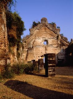 The ruined church of Dingras, built in 1776, seen from the inside- Ilocos Norte