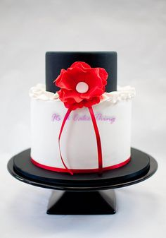 Black and white cake with red flower - Its A Cake Thing